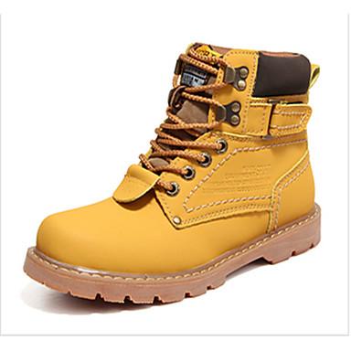 Homens sapatos Couro Ecológico Inverno Conforto Botas Preto / Amarelo / Castanho Escuro