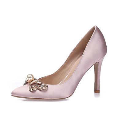 Women s Silk Spring   Summer   Fall Heels Stiletto Heel Pointed Toe    Closed Toe Rhinestone dad4efd11