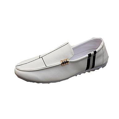 Hombre PU Primavera / Otoño Confort Zapatos de taco bajo y Slip-On Blanco / Negro / Naranja