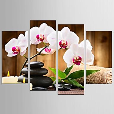 キャンバスセット 静物画 花柄/植物の Modern リアリズム,4枚 キャンバス 任意の形状 版画 壁の装飾 For ホームデコレーション