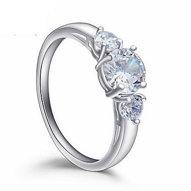 Dame Zirkonium / Kubisk Zirkonium Ring - Mote / Europeisk Sølv Ringe Til Daglig / Avslappet