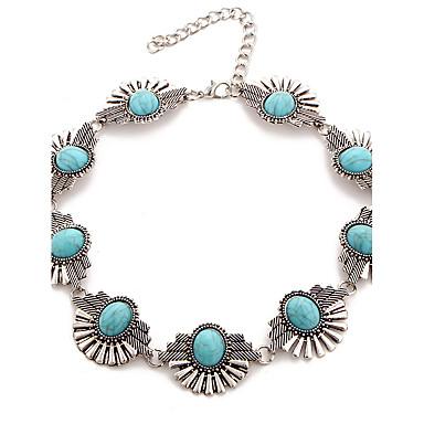 Damen Halsketten Türkis Aleación Blumenform Euramerican Grabado Blau Schmuck Alltag 1 Stück