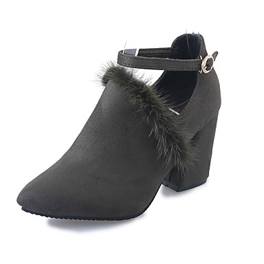 Damen-High Heels-Lässig-Vlies-Blockabsatz-Andere-Schwarz Dunkelgrün