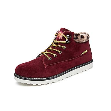Bootsit-Tasapohja-Miesten-PU-Musta Sininen Ruskea Punainen-Rento-Comfort