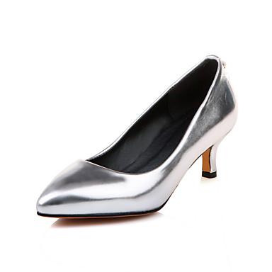 Mulheres Sapatos Courino Primavera / Verão Conforto Saltos Caminhada Salto Sabrina Dedo Apontado Presilha Prata / Roxo / Vermelho