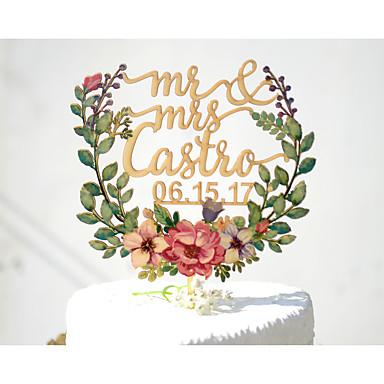 Decoración de Pasteles Tema Jardín Tema Floral Tema Clásico tema de la vendimia Pareja Clásica Papel de tarjeta Boda Despedida de Soltera