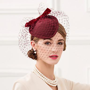 voordelige Hoeden-Wol / Net / Fluweel Kentucky Derby Hat / fascinators / Hoofddeksels met Bloemen 1pc Bruiloft / Speciale gelegenheden  / Causaal Helm