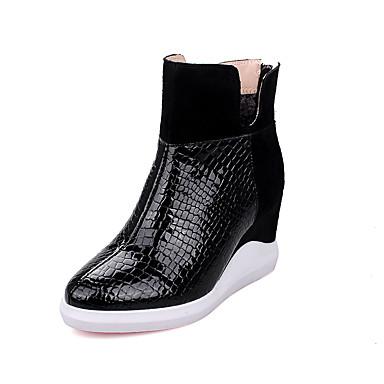 Damen Schuhe Lackleder Leder Frühling Herbst Winter Stiefeletten Reitstiefel Modische Stiefel Stiefel Keilabsatz Runde Zehe Reißverschluss