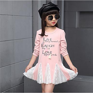 baratos Blusas para Meninas-Infantil Para Meninas Diário Estampado Manga Longa Padrão Algodão Camiseta Cinzento