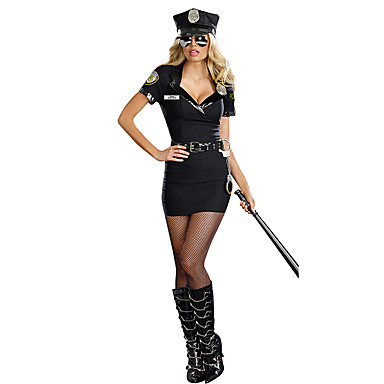 Policial Fantasias de Cosplay Festa a Fantasia Cosplay de Filmes Preto Vestido Chapéu Dia Das Bruxas Carnaval Poliéster
