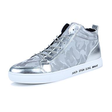 Herren-Sneaker-Lässig-PU-Flacher Absatz-Komfort-Schwarz Silber Schwarz-Weiss