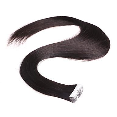 neitsi 28 '' 10kpl / pakkaus 2 g / kpl nauhan luonnollinen väri hiuksista pidennykset virgin ihon kude laajennukset