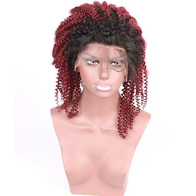 Cabelo Remy Frente de Malha Peruca Kinky Curly 130% Densidade 100% Feita a Mão Peruca Afro Americanas Riscas Naturais Cabelo Ombre Curto