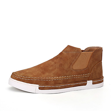 Homens sapatos Couro / Microfibra Primavera / Outono Conforto / Calçado vulcanizado Tênis Preto / Cinzento / Khaki / Festas & Noite