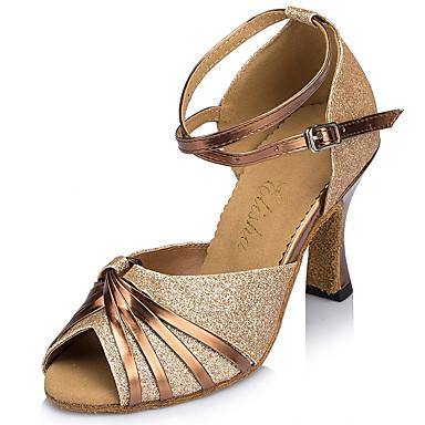 للمرأة أحذية رقص بريّق كعب مشبك / عقدة شريطة كعب مثير مخصص أحذية الرقص ذهبي / أزرق / داخلي / أداء / تمرين