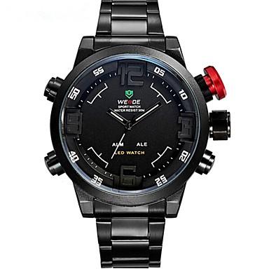 WEIDE Herre Sportsur Modeur Armbåndsur Quartz Japansk Quartz LED Kalender Kronograf Vandafvisende Dobbelte Tidszoner alarm Rustfrit stål