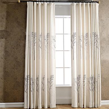 İki Panel Pencere Tedavi Ülke Modern Neoklasik Akdeniz Avrupa Yatakodası Keten / Polyester Karışımı Malzeme Perdeler PerdelerEv