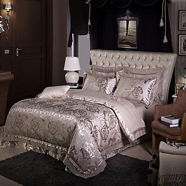 Bettbezug-Sets Geometrisch 4 Stück Seide/Baumwolle Jacquard Seide/Baumwolle 1 Stk. Bettdeckenbezug 2 Stk. Kissenbezüge 1 Stk. Betttuch