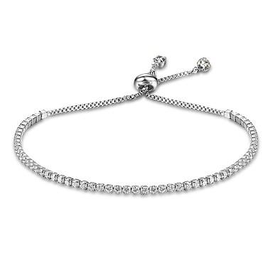 abordables Bracelet-Chaînes Bracelets Bracelets Tennis Rivière de Diamants Femme Argent sterling Goutte dames Naturel Bracelet Bijoux Dorée Argent pour Cadeau Valentin