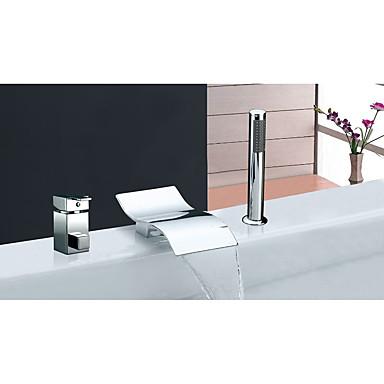 Moderno Arte Decorativa/Retro Modern Muy Difundido Cascada Válvula Cerámica Sola manija Tres Agujeros Cromo , Grifo de bañera