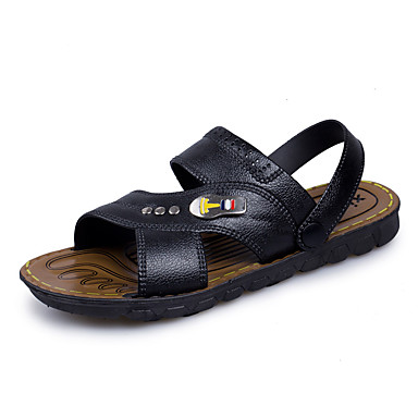 Men's Shoes Leather Summer Fall Comfort Sandals Button For Athletic Casual Outdoor Black Dark Brown
