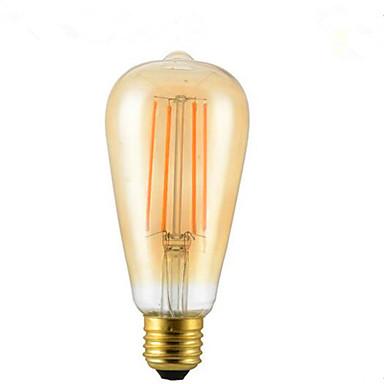 1pc 4W 350lm E26 / E27 LED-glødepærer ST64 4 LED perler COB Dekorativ Varm hvit 85-265V