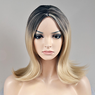 Syntetiske parykker Rett Blond Syntetisk hår Blond Parykk Dame Kort Lokkløs Beige