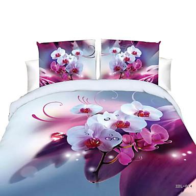お買い得  ホームテキスタイル-羽毛布団のカバーは、花のポリエステルリアクティブプリント4ピースの寝具セット/ 200 / 4pcs(羽毛布団カバー、平らなシート、2つの髪型)女王