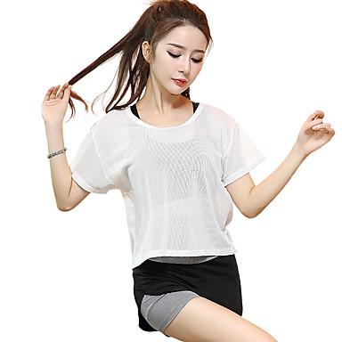 Dame T-skjorte til jogging Kortermet Fort Tørring, Pustende Topper til Yoga & Danse Sko / Trening & Fitness / Løp Modal, Polyester, Mesh