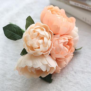 Flores artificiais 1 Ramo buquês de Noiva Peônias Flor de Mesa