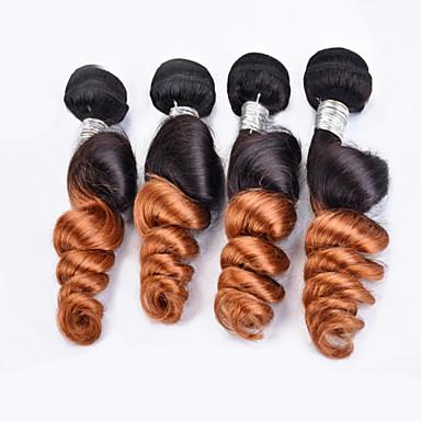 Tissages de cheveux humains Cheveux Brésiliens Ondulation Lâche 3 Pièces tissages de cheveux