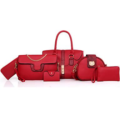 Women's Bags PU Bag Set Zipper / Flower Red / Gray / Brown