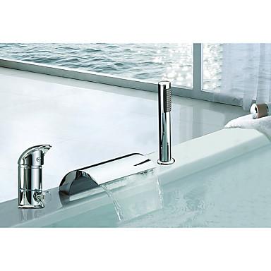 ก๊อกอ่างอาบน้ำ - ร่วมสมัย / Art Deco / Retro / ที่ทันสมัย มีสี กระจาย Ceramic Valve Bath Shower Mixer Taps / เหล็กสเตนเลส / จับเดี่ยวสามหลุม