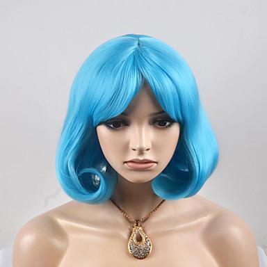 Perucas sintéticas Ondulação Larga Cabelo Sintético Azul Peruca Mulheres Curto Peruca Natural Sem Touca