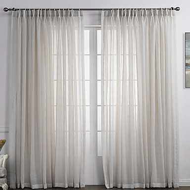 Rod Pocket Grommet Top Tab Top Double Pleated Two Panels Curtain Country , Solid Bedroom Linen/Polyester Blend Material Sheer Curtains