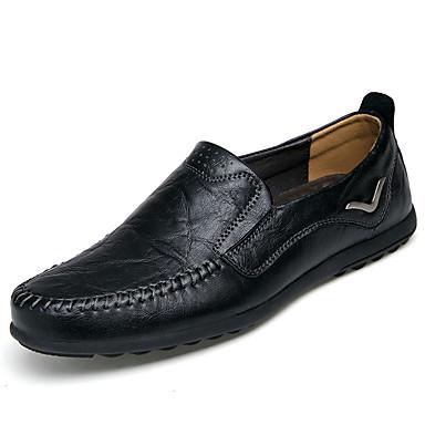 Herre sko Lær Vår / Høst Komfort En pedal Svart / Lysebrun / Mørkebrun / Comfort Loafers