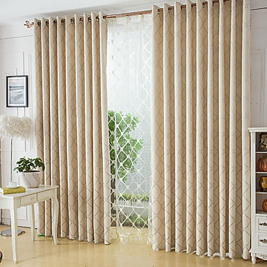 cortinas cortinas Dormitorio Geométrico Mezcla de Poliéster y Algodón Jacquard