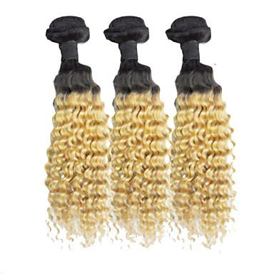 Cabelo Humano Cabelo Brasileiro Cabelo Humano Ondulado Enrolado Extensões de cabelo 3 Peças # T1B -27