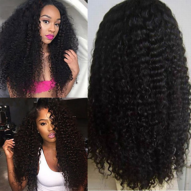 Human Hair Lace Front Wig Afro / Kinky Curly 130% / 150% Density Natural Hairline / African American Wig / 100% Hand Tied Short / Medium