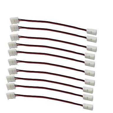 10 unidades / pacote tira para tira com fio de solda snap down 2pin maestro tira conduzida conector para 8mm de largura 3528 2835 única cor flex levou tiras 8mm
