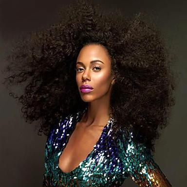 Aidot hiukset Full Lace Peruukki Kinky Curly Afro 120% Tiheys 100% käsinsidottu Afro-amerikkalainen peruukki Luonnollinen hiusviiva Lyhyt