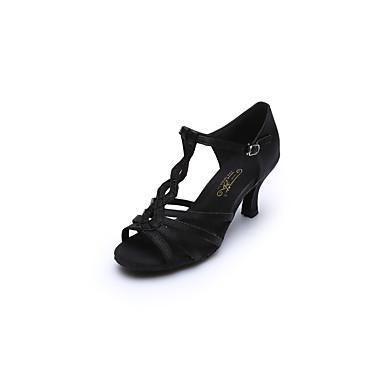 للمرأة أحذية رقص / أحذية سالسا ستان صندل / كعب مشبك كعب كوبي مخصص أحذية الرقص أسود / بني داكن / داخلي / أداء / تمرين / متخصص
