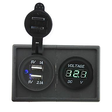 12v / 24v 3.1a dual usb kontakten og ledet voltmeter med boliger holder panel for bil båt lastebil rv