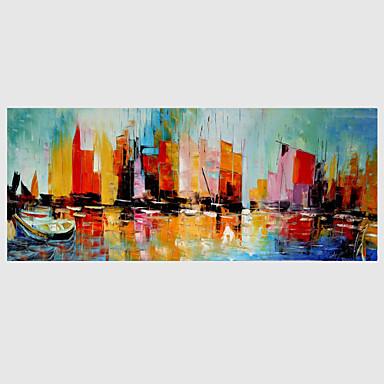 Håndmalte Abstrakt Vannrett, Moderne Lerret Hang malte oljemaleri Hjem Dekor Et Panel