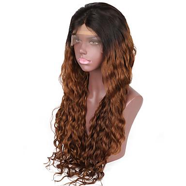 billige Blondeparykker med menneskehår-Ekte hår Halvblonder uten lim Blonde Forside Parykk Beyonce stil Brasiliansk hår Naturlige bølger Nyanse Parykk 130% 150% Hair Tetthet med baby hår Ombre-hår Naturlig hårlinje Afroamerikansk parykk
