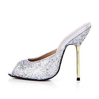 Mujer Zapatos Sintético Verano Confort Sandalias Tacón Stiletto Punta abierta Dorado / Plateado / Fiesta y Noche / Fiesta y Noche