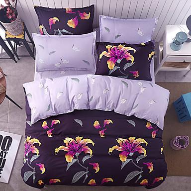 ensembles housse de couette fleurs 4 pi ces polyester. Black Bedroom Furniture Sets. Home Design Ideas