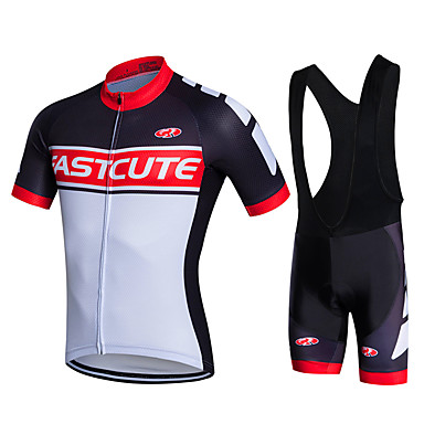 71cc31646 Fastcute Men s Short Sleeve Cycling Jersey with Bib Shorts - White Bike  Shorts Bib Shorts Jacket Breathable 3D Pad Quick Dry Sweat-wicking Sports  Polyester ...