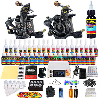 Tattoo Machine Starter Kit - 2 pcs Tattoo Machines with 40 x 5 ml tattoo inks, Professional LCD power supply Case Not Included 2 alloy machine liner & shader