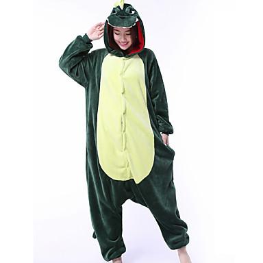 Voksne Kigurumi-pysjamas Drage Dinosaur Onesie-pysjamas Korallfleece Grønn Cosplay Til Damer og Herrer Pysjamas med dyremotiv Tegnefilm Festival / høytid kostymer